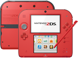Nintendo 2DS - Crimson Red 2 - Back + Front + Stylus