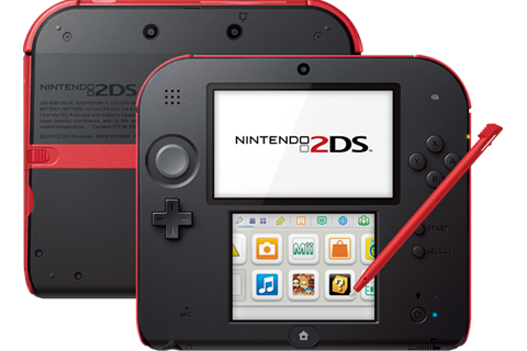 Nintendo 2DS - Crimson Red - Back + Front + Stylus