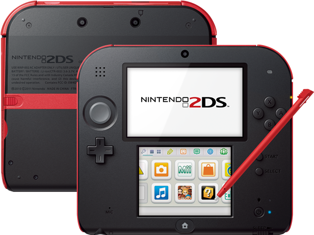 Nintendo 2DS - Crimson Red - Back + Front + Stylus