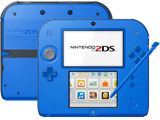 Nintendo 2DS - Electric Blue 2 - Back + Front + Stylus