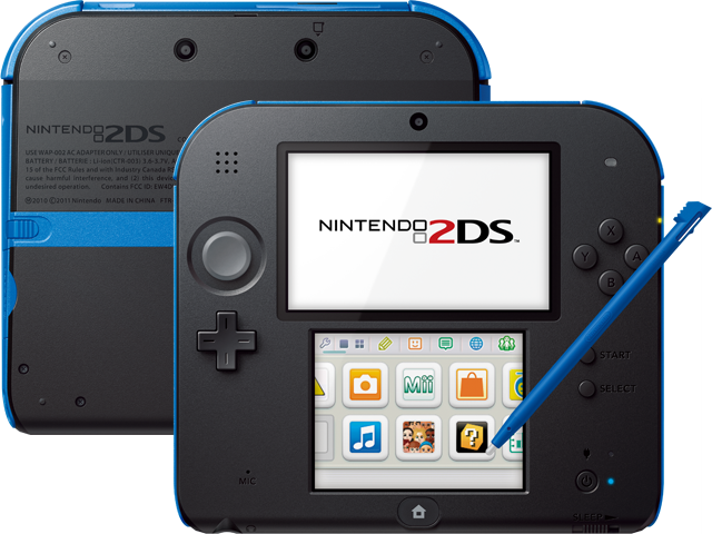 Nintendo 2DS - Electric Blue - Back + Front + Stylus