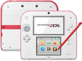 Nintendo 2DS - Scarlet Red - Back + Front + Stylus
