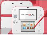 Nintendo 2DS - Scarlet Red - Back + Front + Stylus