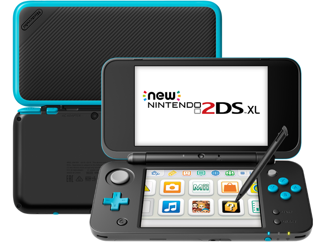New Nintendo 2DS XL - Black + Turquoise - Back - Front - Stylus