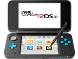 New Nintendo 2DS XL - Black + Turquoise - Open - Front - Stylus