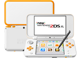 New Nintendo 2DS XL - White + Orange - Back - Front - Stylus