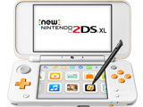 New Nintendo 2DS XL - White + Orange - Open - Front - Screen - Stylus