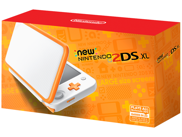 New Nintendo 2DS XL - White + Orange - Package - Front