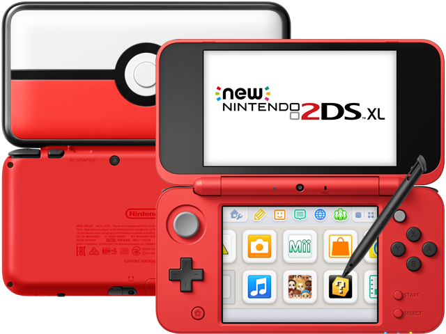 New Nintendo 2DS XL - Poke Ball - Back - Front - Stylus