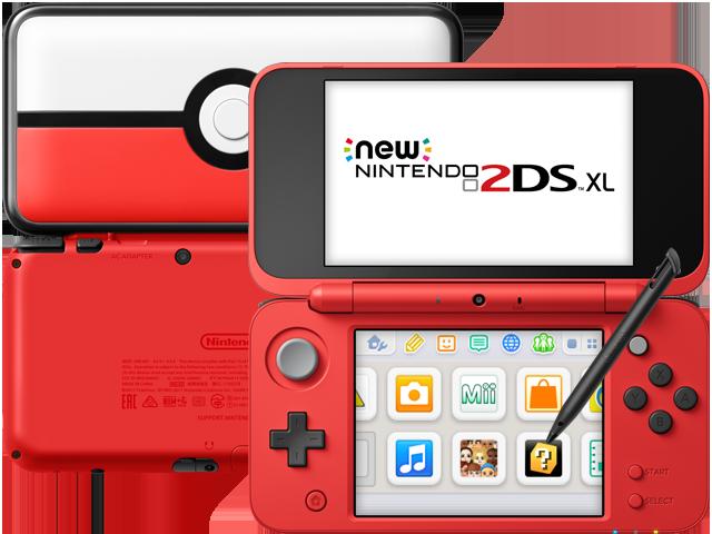 New Nintendo 2DS XL - Poke Ball - Back - Front - Stylus
