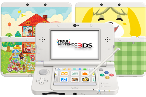 New Nintendo 3DS - White - Open - Screen On - Stylus - AC Cover Plates