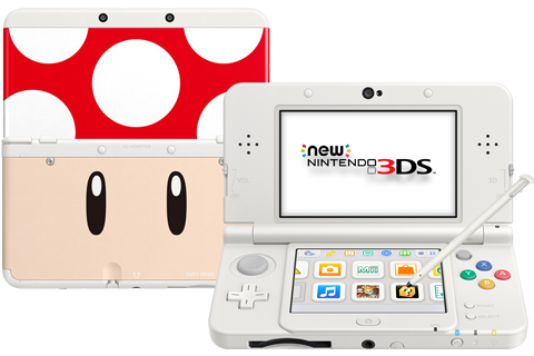 New Nintendo 3DS - White - Open - Screen On - Stylus - Red Mushroom Cover Plates