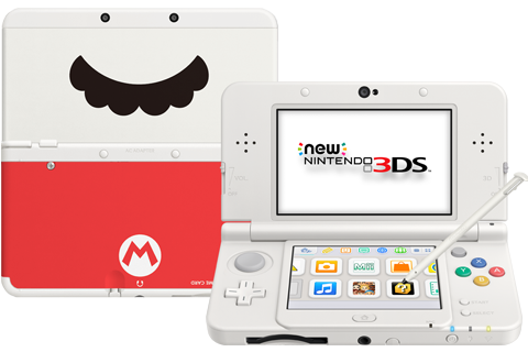 New Nintendo 3DS - White - Open - Screen On - Stylus - Red Mustache Cover Plates