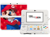 New Nintendo 3DS - White - Open - Screen On - Stylus - Super Mario 3D Land Cover Plates