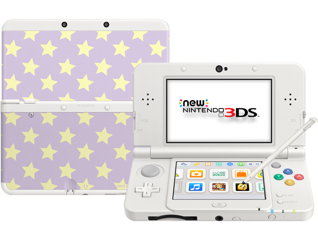 New Nintendo 3DS - White - Open - Screen On - Stylus - Yellow Stars Cover Plates