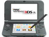 New Nintendo 3DS XL - New Black - Open - Screen On - Stylus