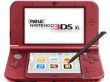 New Nintendo 3DS XL - New Red - Open - Screen On - Stylus