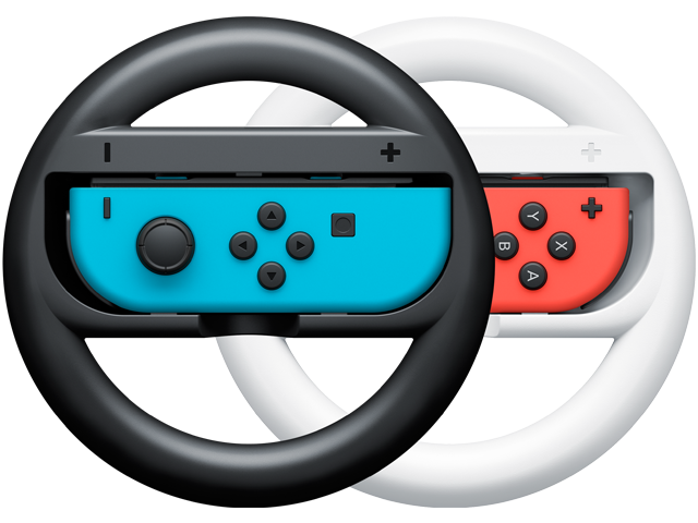 Wheels - Joy-Con - Nintendo Switch - Neon Blue L + Neon Red R - Black + White