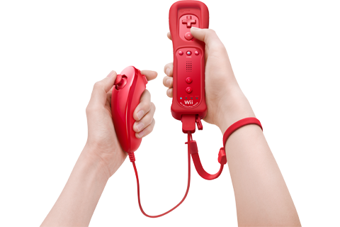 Wii Remote Plus + Nunchuk - Red - Refurbished - Lifestyle