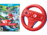 Mario Kart 8 + Wii Remote Plus + Wii Wheel Bundle - REFURBISHED