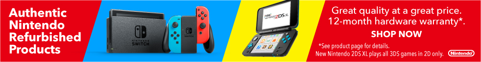 Clickable Image of Authentic Nintendo Refurbished Products - Nintendo Switch and New Nintendo 2DS XL - Great Quality, great price, 12 month warranty.