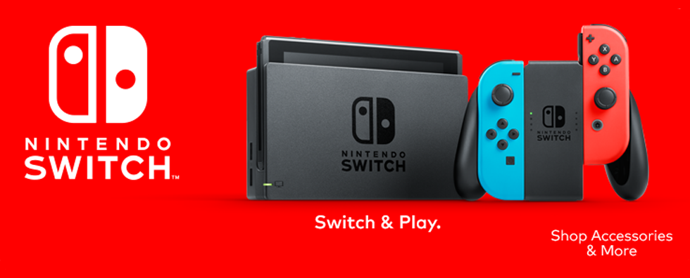 Clickable Image of a Nintendo Switch Console and Joy-Con - Shop Accessories and More - Canada