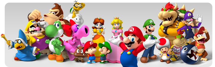 Decorative image of various Nintendo characters