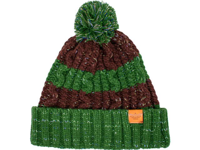 MI - Knit Cap - Zelda - Green + Brown Stripes - Front