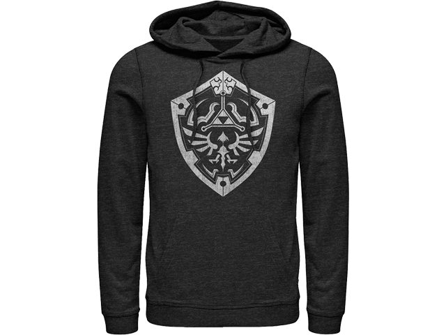 Hoodie - Hyrule Shield - Charcoal Heather - Front