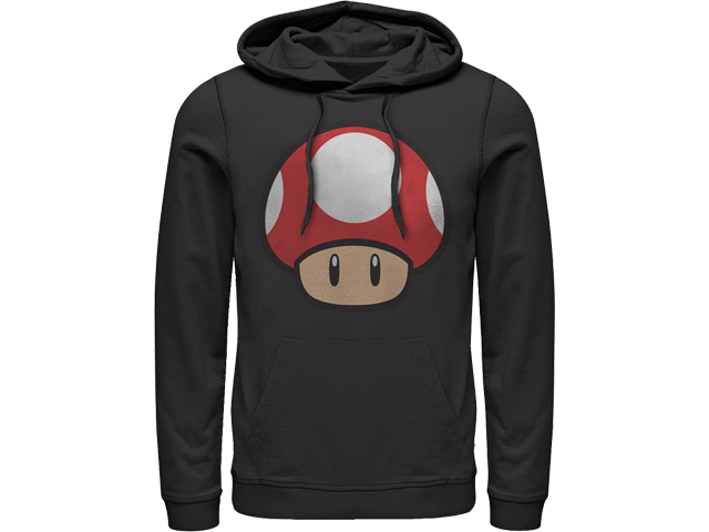 Hoodie - Power Up Mushroom - Black - Front