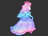 T-Shirt - Princess Peach - Rainbow Fade - Black - Detail